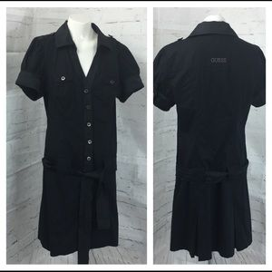 Guess Black Dress Button Front Belted Large